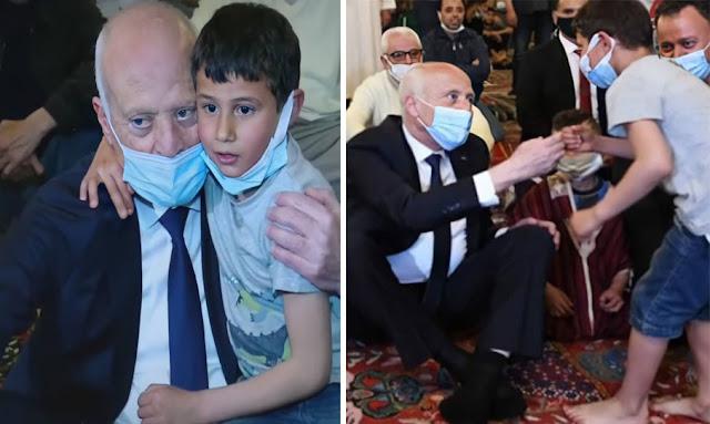 حادثة طريفة بين رئيس الجمهورية قيس سعيد و طفل صغير