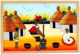 Art, tableau, sous, verre, peinture, vitre, motif, scène, artiste, LEUKSENEGAL, Dakar, Sénégal, Afrique