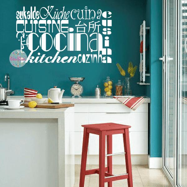 Vinilo decorativo de cocina idiomas tipogr fico w336 cdm for Vinilos azulejos de cocina