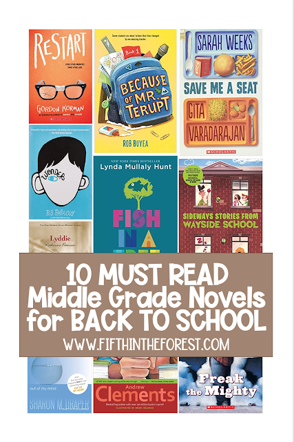 Pin Image of 10 Best Middle Grade Novels for Back to School featuring 10 cover images