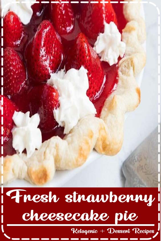 This homemade Fresh Strawberry Pie is made with a flaky crust, cheesecake filling and is bursting with fresh strawberries. One of our favorite Summer desserts! #strawberry #cheesecake #pie #fresh #recipe #homemade #oldfashioned