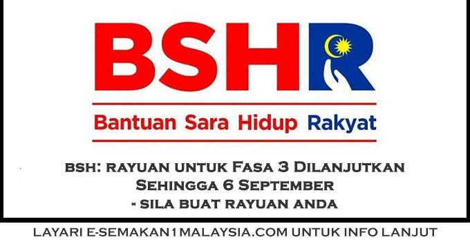 Bsh Rayuan Untuk Fasa 3 Dilanjutkan Hingga 6 September Ini