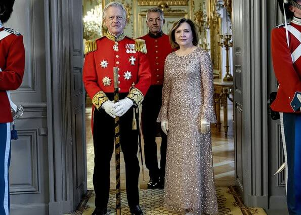 Queen Margrethe II of Denmark held a diplomatic reception for Ambassador for Switzerland Florence Tinguely Mattli