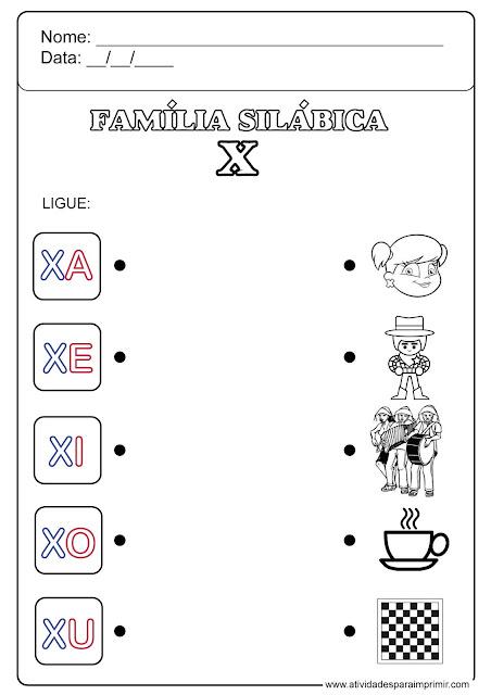 família silábica do x para imprimir