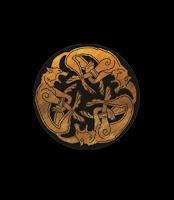 circular wolf brooch emblem