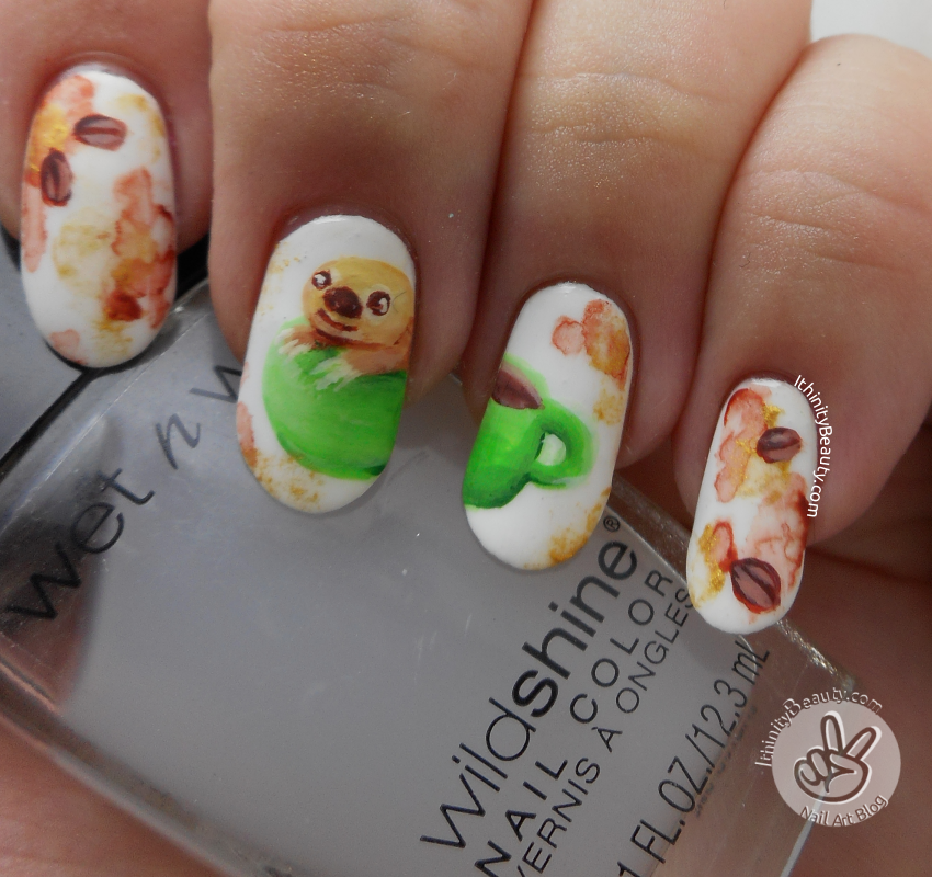 Freehand Slothsloffee Cup Nail Art With Water Colour