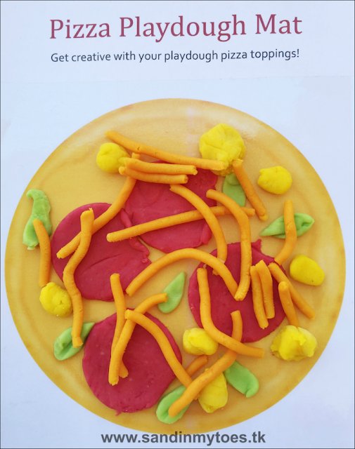 Download a free printable play dough mat for making pizza toppings.