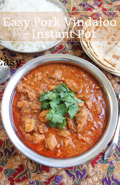Food Lust People Love: This easy pork vindaloo is a super tasty dish and quick to the table because it's made in an Instant Pot. Vindaloo is classically a very spicy curry but you can tone that down by scaling back on the red chili peppers.