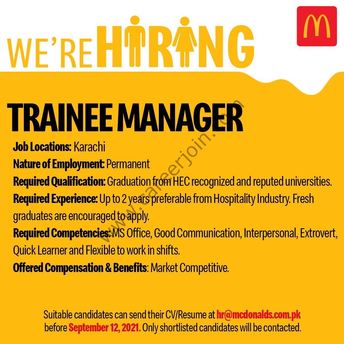 McDonalds Pakistan Jobs September 2021