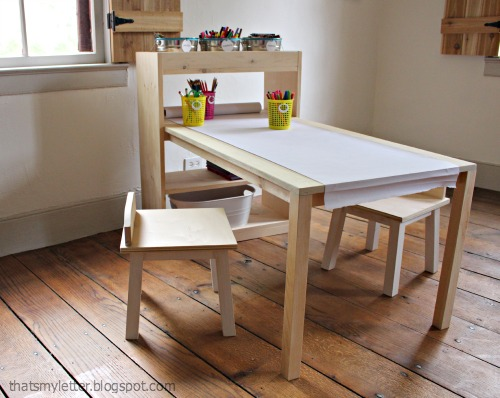 diy kids art table with storage and chairs