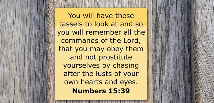 You will have these tassels to look at and so you will remember all the commands of the Lord, that you may obey them and not prostitute yourselves by chasing after the lusts of your own hearts and eyes.