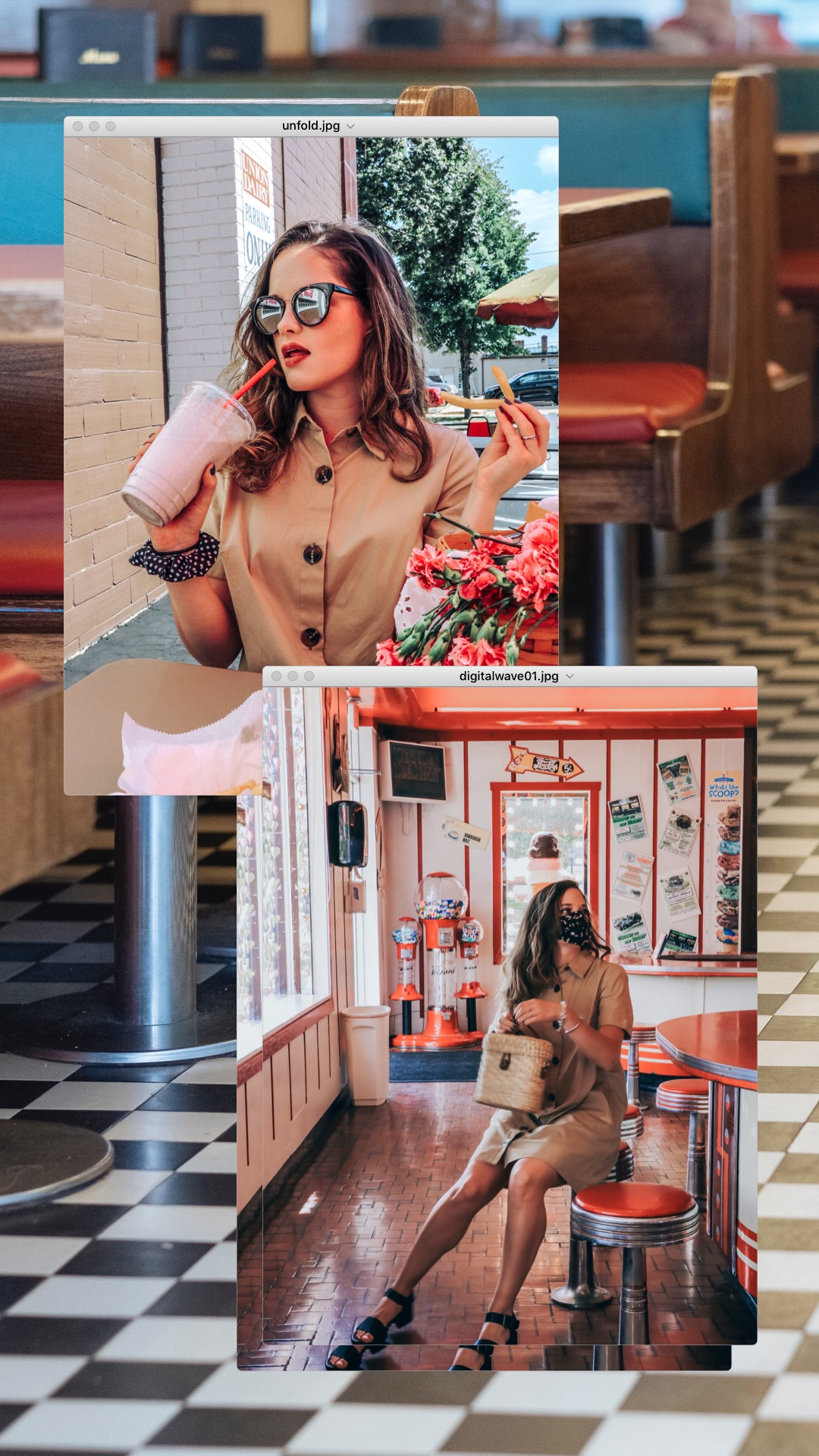 Fashion blogger Kathleen Harper posing in a diner during a photo shoot with milkshake and fries.