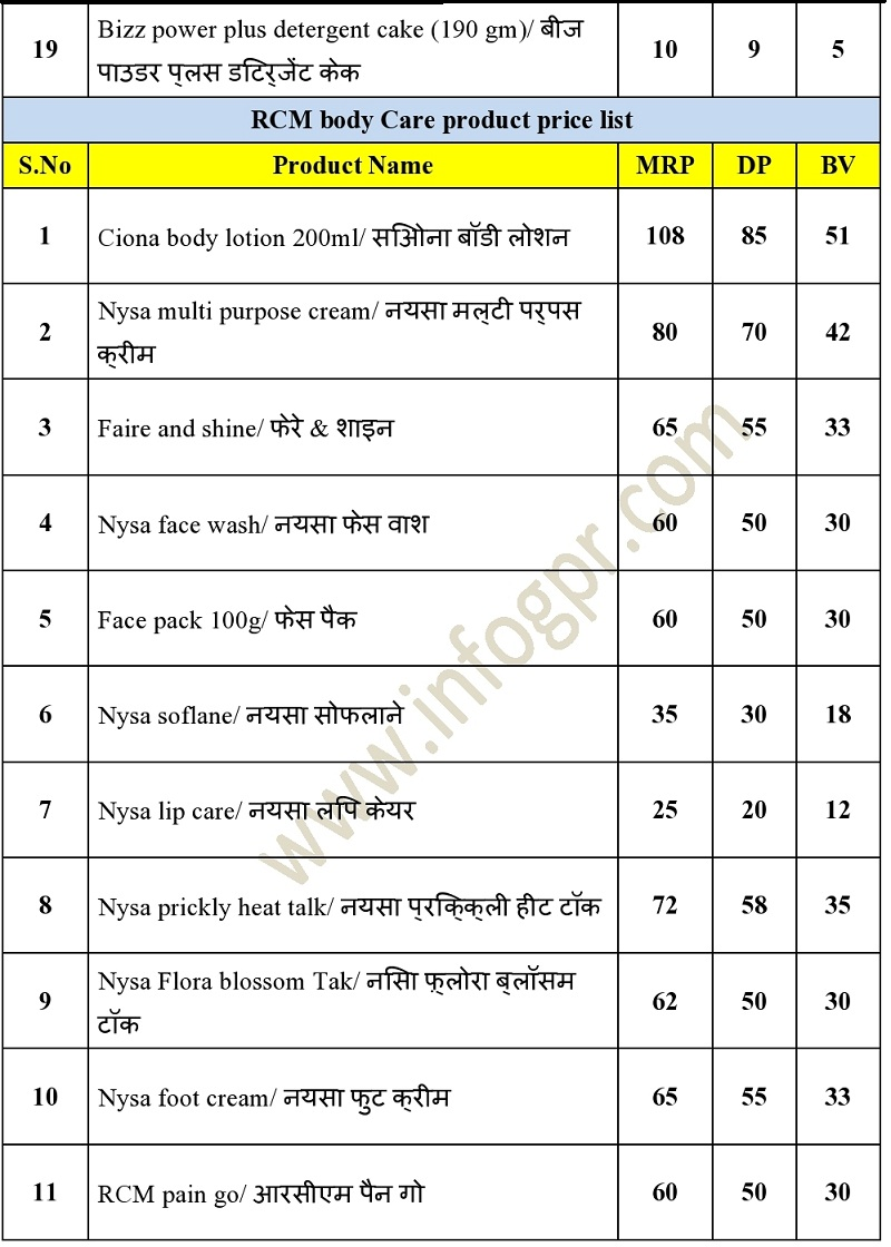 Hair Care & Soap product price list