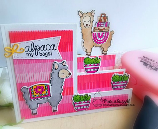 Newton's Nook Designs & Xyron Inspiration Week - Day 2 | Star step llama card by Maria Russell | Loveable Llamas Stamp Set by Newton's Nook Designs and Mega Tape Runner by Xyron #newtonsnook #xyroninc