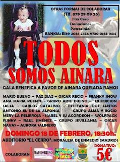 Cartel de la Gala benéfica a favor de Ainara, Moraleja de Enemdio, febrero 2018