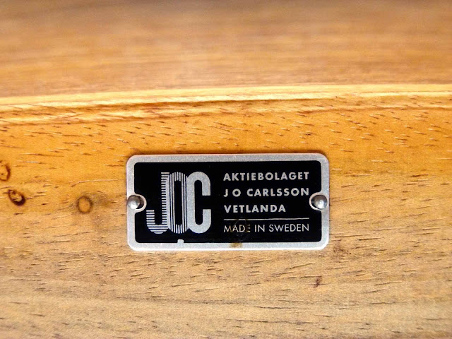 J.O. Carlsson Swedish Teak Draw-Leaf Dining Table Logo Label