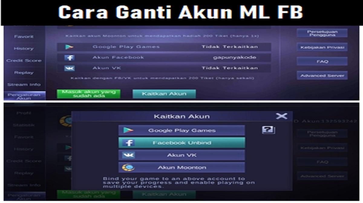 Cara Ganti Akun ML FB