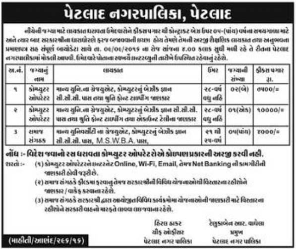Petlad Nagarpalika Recruitment for Computer Operator and Community Organizer Posts 2016