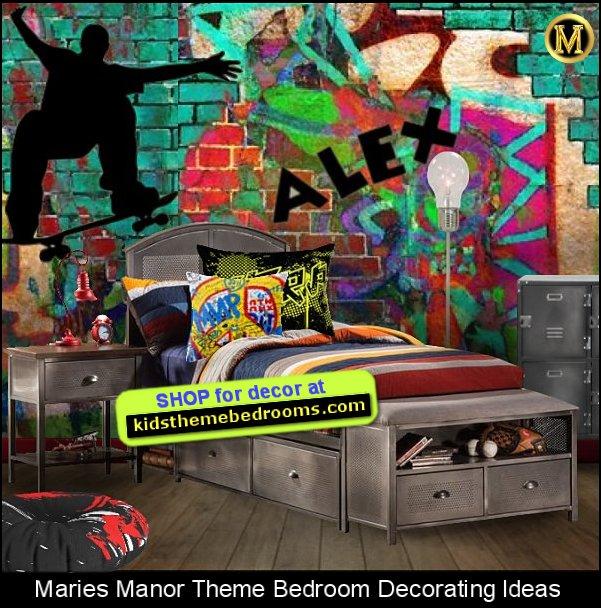 graffiti bedroom ideas - graffiti wall - graffiti bedroom decor - graffiti boys bedroom - boys sports bedrooms