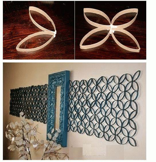 Panel artístico hecho con rubor de papel higiénico