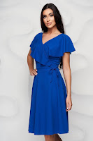 Rochie StarShinerS albastra in clos volanase