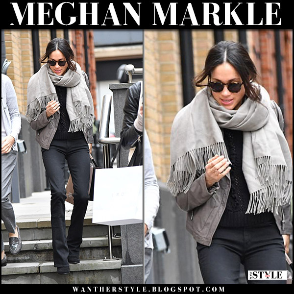 Meghan Markle in black flared jeans mother cruiser, grey jacket and black boots stuart weitzman shorty winter street fashion november 21 2017