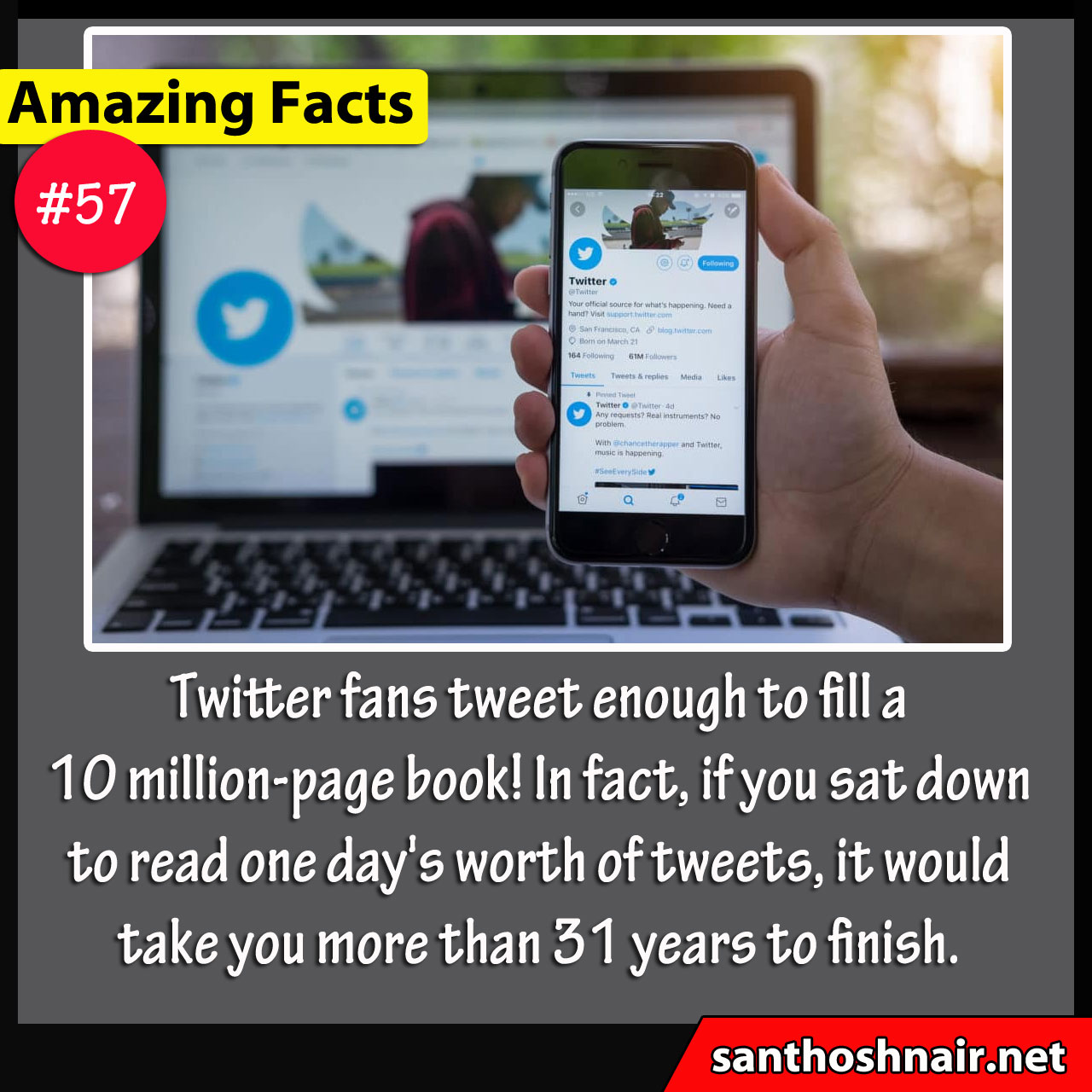 Amazing Facts #57- enough to fill 10 million page book