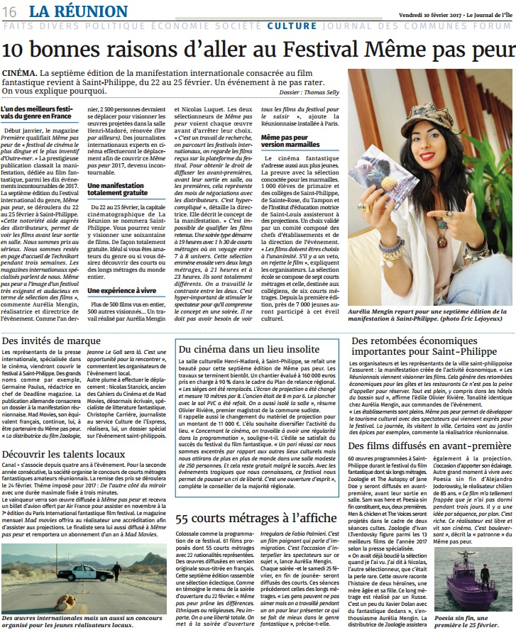 Le Festival MEME PAS PEUR 2017 dans le Journal de La Réunion