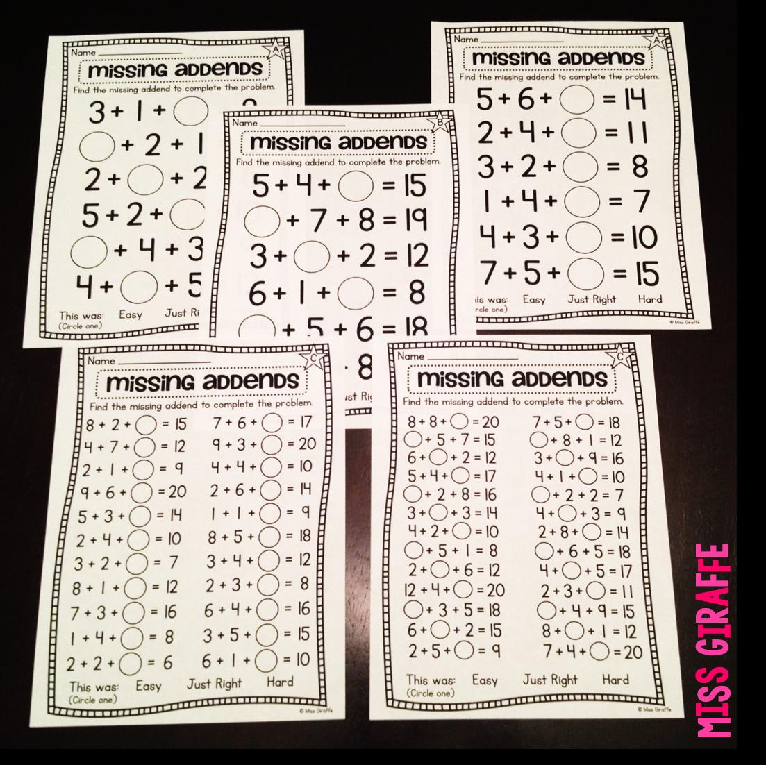 Miss Giraffe's Class: Adding 3 Numbers [ 1102 x 1103 Pixel ]