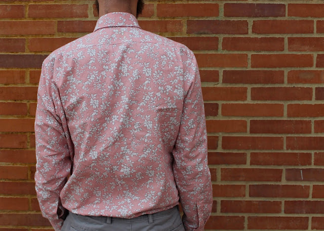 Back view of a pink floral men's button-down shirt made from the Liesl and Co. All-Day Shirt sewing pattern.