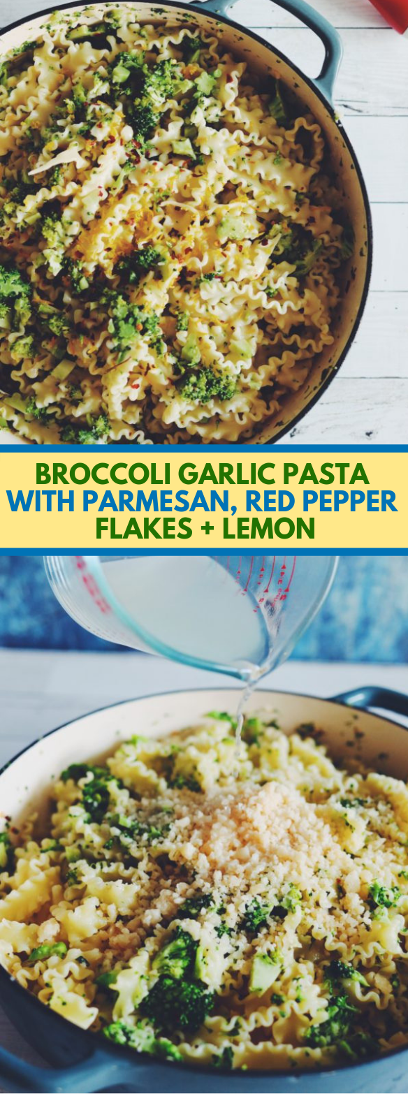 BROCCOLI GARLIC PASTA WITH PARMESAN, RED PEPPER FLAKES + LEMON #vegetarian #dinner