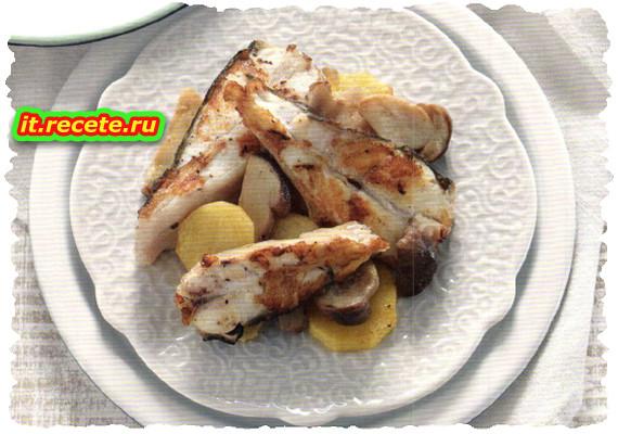 Tranci di rombo con patate e porcini