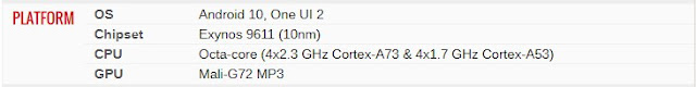 Spesifkasi Samsung Galaxy M21-Platform