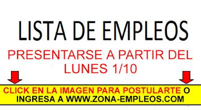 EMPLEOS PARA PRESENTARSE A PARTIR DEL 1/10