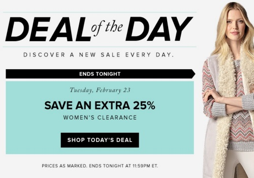 Hudson's Bay Deal of the Day Save Extra 25% Off Women's Cleraance