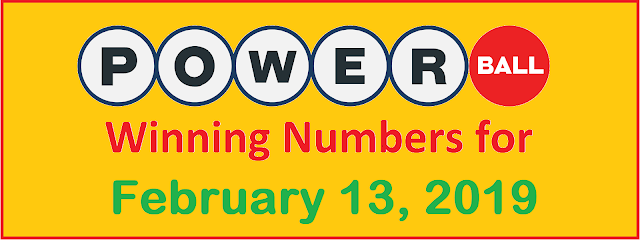 PowerBall Winning Numbers for Wednesday, 13 February 2019