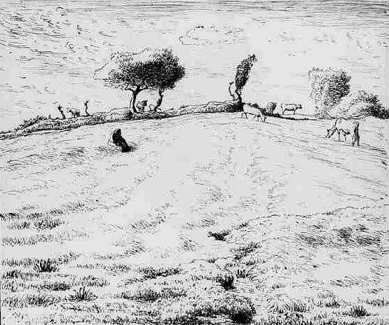 Жан Франсуа Милле - Пейзаж с холмами близ Граши. 1870