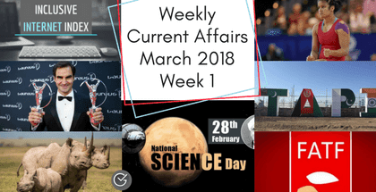 Weekly Current Affairs March 2018: Week 1