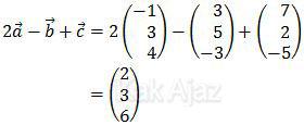 Penjumlahan dan penguranan vektor: 2a - b + c, soal UN 2014