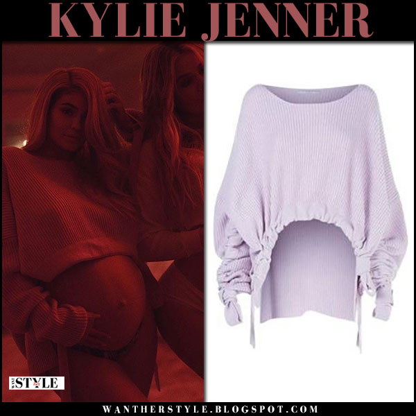 Kylie Jenner in cropped knit sweater stella mccartney showing her baby bump maternity celebrity fashion