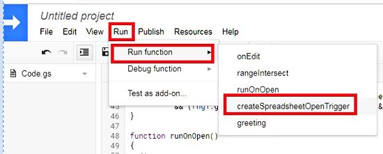 Run Function On GAS Editor