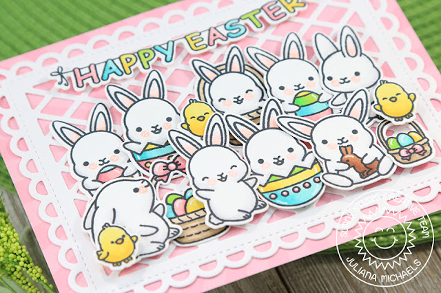 Sunny Studio Stamps: Chubby Bunny Frilly Frames Dies Happy Easter Card by Juliana Michaels