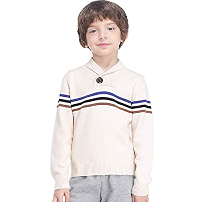 80% OFF GAZIAR Boys' Sweater Shawl Collar Christmas Sweatshirt Striped Long Sleeve School Uniform Pullover