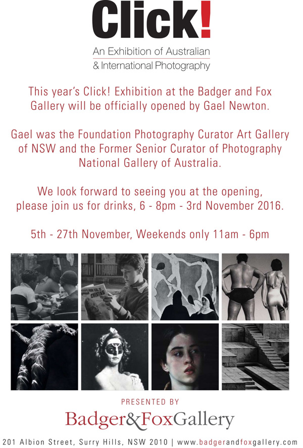 Flyer for the 2016 Click exhibition at Badger & Fox Gallery, Surry Hills, Sydney.