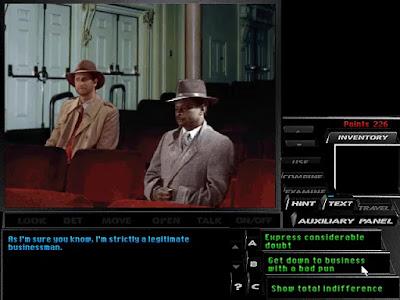 El detective Tex Murphy manteniendo una conversación durante el juego