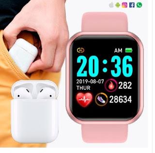 Kit Smart Relógio e Fone AirPods TPM de Ofertas