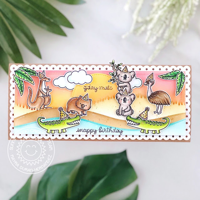 Sunny Studio Stamps: Outback Critters Slimline Dies Stitched Circle Dies Critter Themed Birthday Card by Mayra Duran-Hernandez