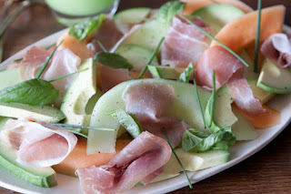 Melon and Ham with Chive-Tossed Potatoes