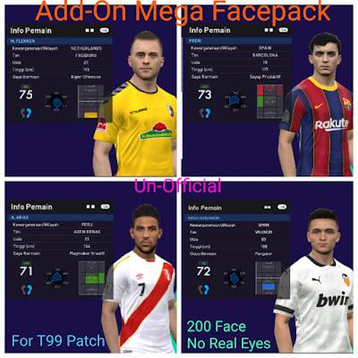 PES 2017 Mega Facepack for T99 Patch (200+ Faces)