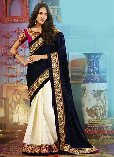 Blue & Golden Party Wear Half N Half Saree